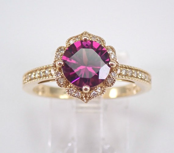 Rhodolite Garnet and Diamond Engagement Ring 14K Yellow Gold Size 7 RARE VIVID Color January Birthstone FREE Sizing