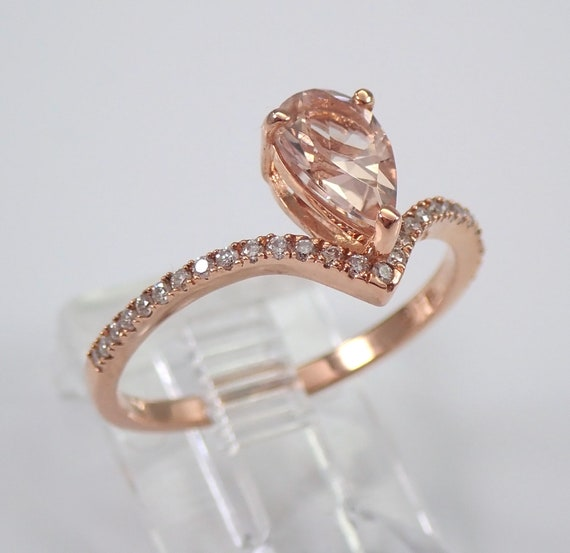 Pear Morganite and Diamond Engagement Ring 14K Rose Gold Size 7 V Chevron Ring FREE Sizing