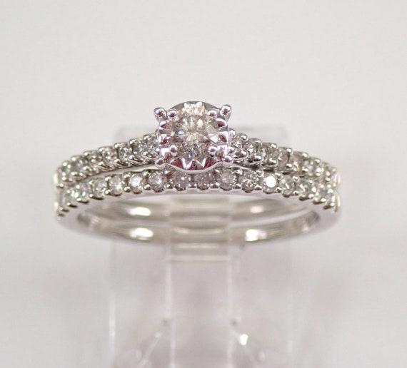 White Gold Diamond Engagement Ring Wedding Anniversary Band Set Size 7