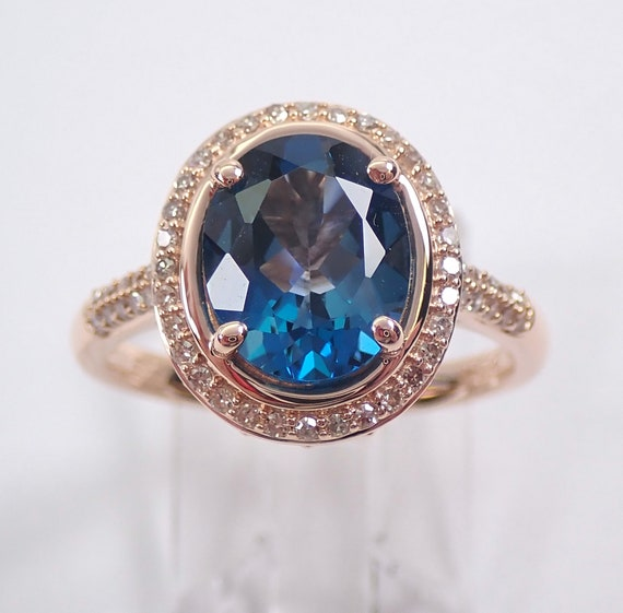 London Blue Topaz and Diamond Halo Engagement Ring 14K Rose Gold Size 7.25 December Birthstone