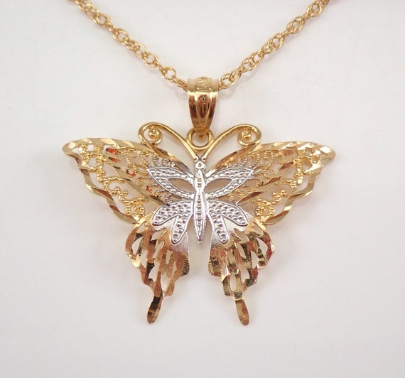"""Vintage Estate 14K Yellow Gold Butterfly Pendant Filigree Necklace Chain 18"""""""