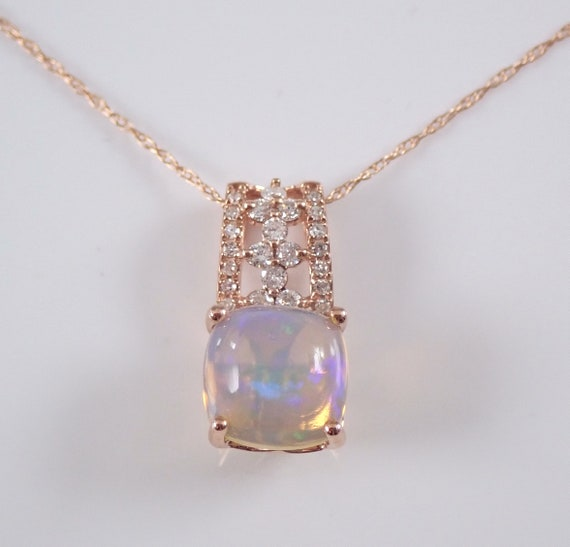 """Ethiopian Opal and Diamond Drop Pendant Necklace Rose Gold 18"""" Chain Cushion Cut October Birthstone"""