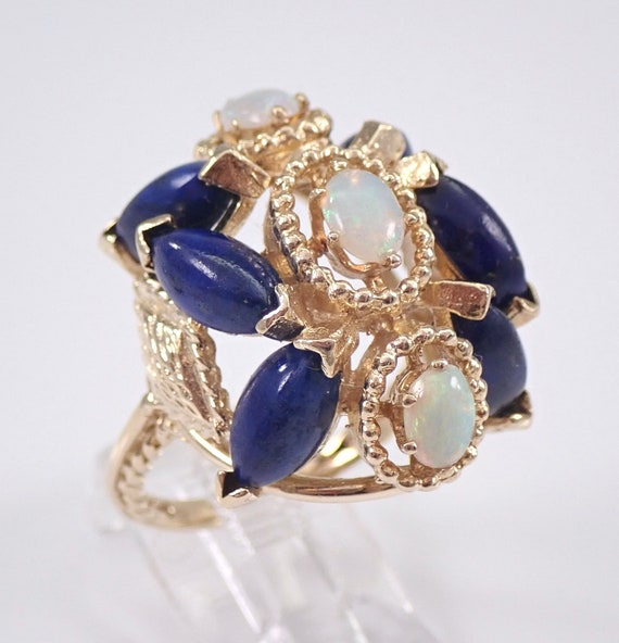 Vintage Antique 14K Yellow Gold Opal and Lapis Lazuli Cocktail Ring Size 8