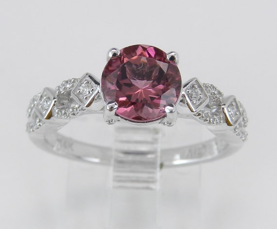 Pink Tourmaline and Diamond Engagement Ring 14K White Gold Size 7 October Gemstone FREE Sizing
