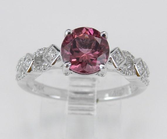 Pink Tourmaline and Diamond Engagement Ring 14K White Gold Size 7 October Gemstone