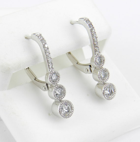 White Gold .75 ct Diamond Drop Earrings Unique Three Stone Design Leverback