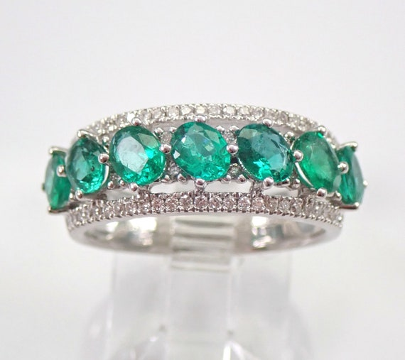 1.83 ct Diamond and Emerald Anniversary Band Wedding Ring 18K White Gold Size 6.5 May Birthstone FREE Sizing