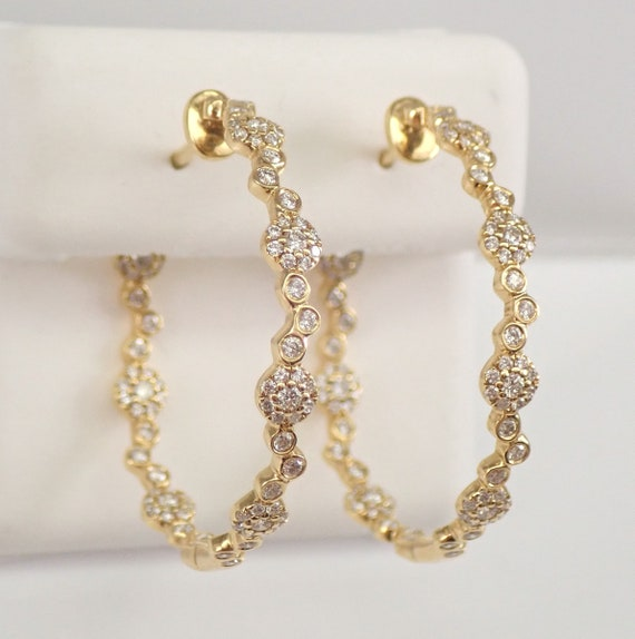 18K Yellow Gold Diamond Hoop Earrings Halo Cluster Diamond Hoops In and Out