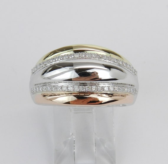 White Rose Yellow Gold Diamond Anniversary Ring Dome Band High Polish Size 7