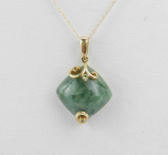 "Cushion Cut Jade and Peridot Pendant Necklace 14K Yellow Gold 18"" Chain Healing Gemstone"