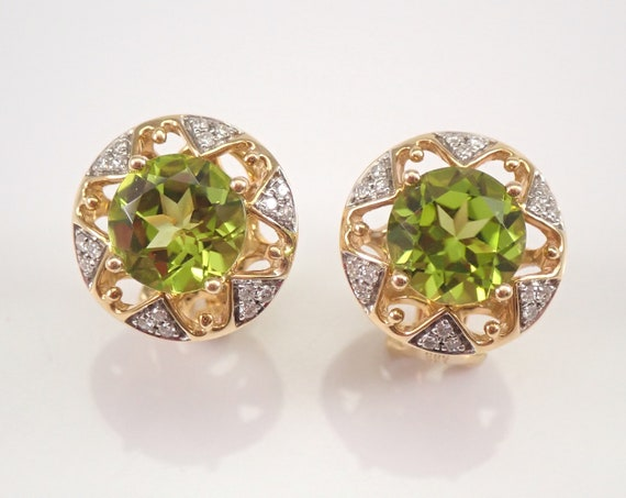 14K Yellow Gold 4.36 ct Peridot and Diamond Earrings August Gemstone Omega Clasp