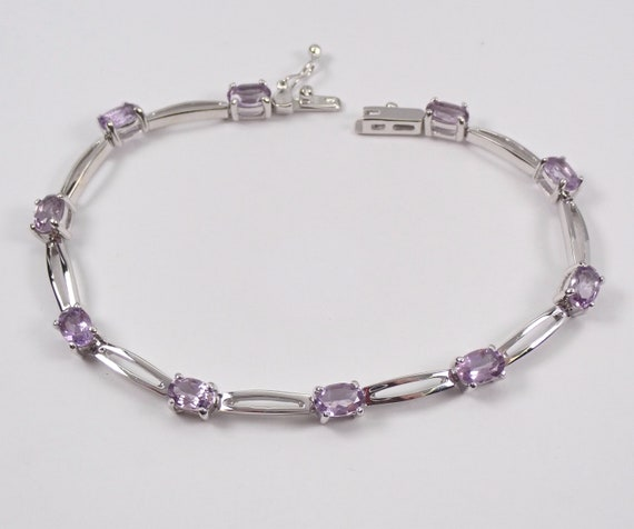"14K White Gold 5.50 ct Amethyst Tennis Bracelet 7"" Lavender Purple Gemstone Link"