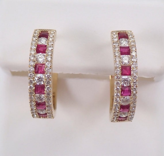 Diamond and Ruby Hoop Earrings Hoops Yellow Gold July Birthstone Graduation
