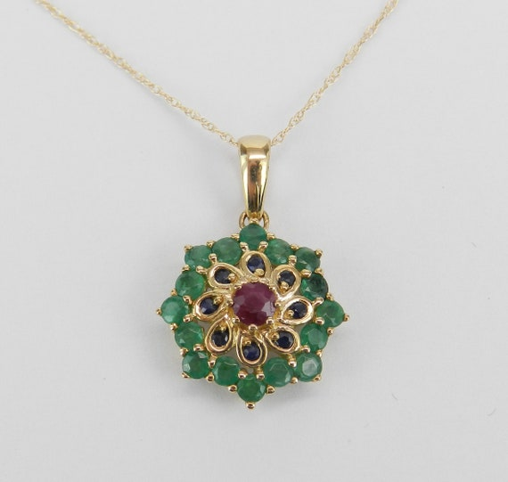 """Emerald Ruby Sapphire Cluster Flower Pendant Necklace 14K Yellow Gold 18"""" Chain"""