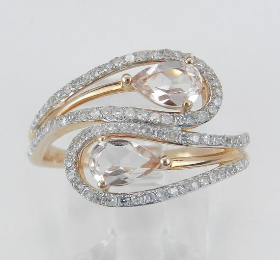 14K Rose Gold Diamond and Morganite Cocktail Bypass Ring Size 7.25 Beryl Gem FREE Sizing