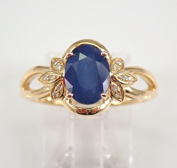 14K Yellow Gold Diamond and Sapphire Engagement Ring Size 7 September Gemstone FREE Sizing