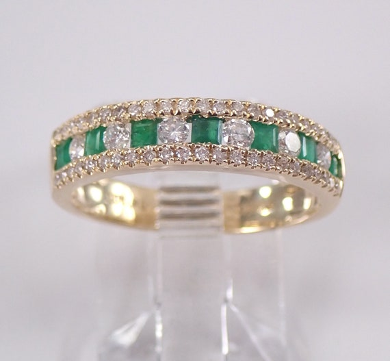 Yellow Gold Emerald and Diamond Wedding Ring Anniversary Band Size 6.75 May Birthstone