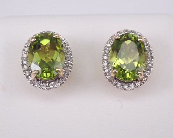 2.20 ct Peridot and Diamond Stud Earrings Halo Studs 14K Yellow Gold August Birthstone