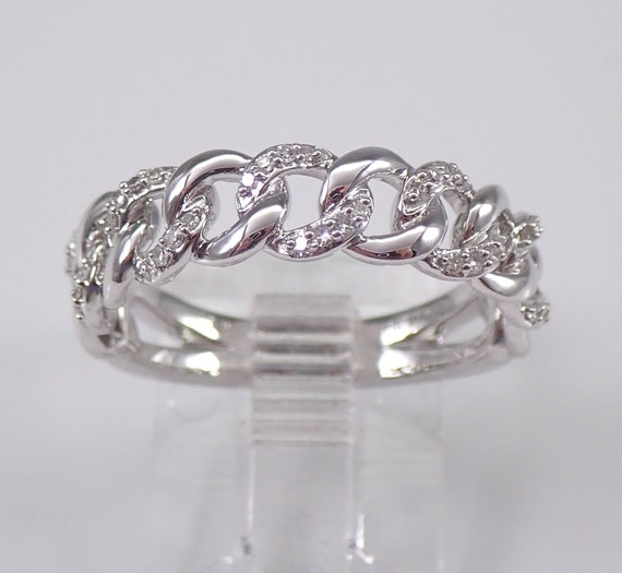 14K White Gold CHAIN LINK Diamond Wedding Ring Anniversary Band Stackable Size 7