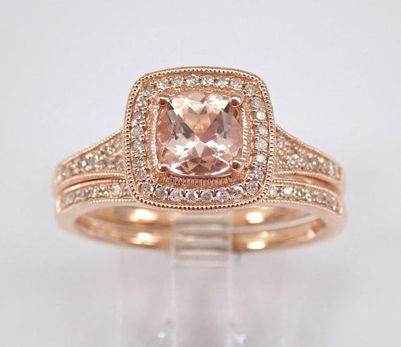 Rose Gold Diamond and Cushion Cut Morganite Engagement Ring Wedding Band Set Size 9 FREE Sizing