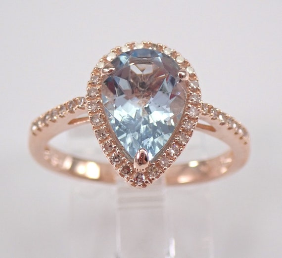 Pear Blue Topaz and Diamond Halo Engagement Ring Rose Gold Size 7.25 December Gemstone