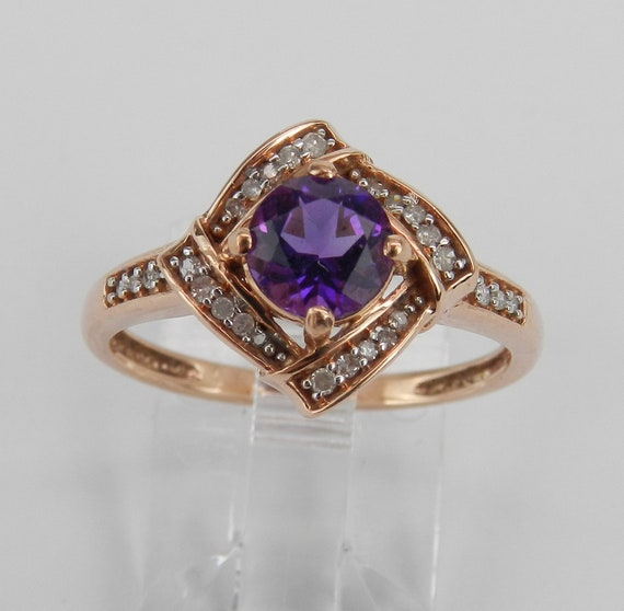 SALE PRICE! Amethyst and Diamond Engagement Ring Promise Halo Ring Rose Gold Size 7 February Gem FREE Sizing