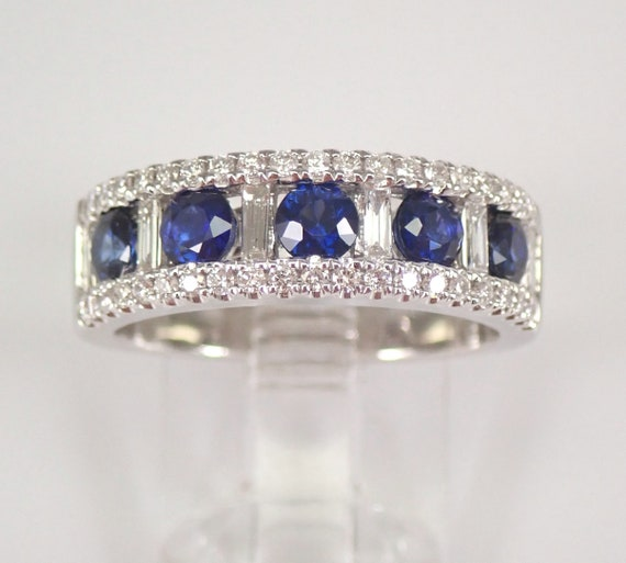 1.36 ct Diamond and Sapphire Wedding Ring Anniversary Band 18K White Gold Size 6.5