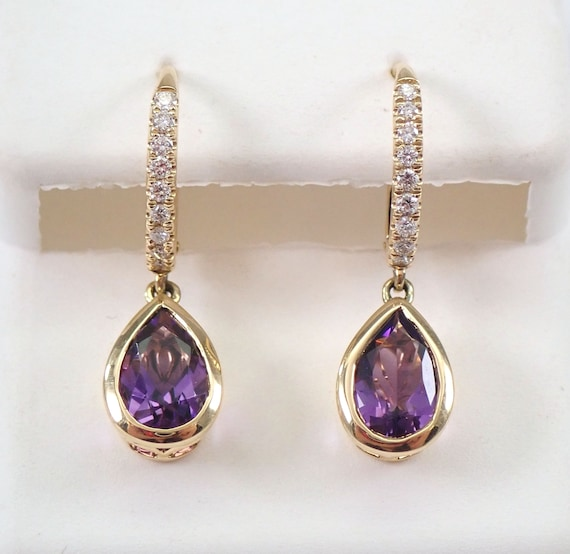 14K Yellow Gold Diamond and Pear Shape Amethyst Drop Earrings February Birthday