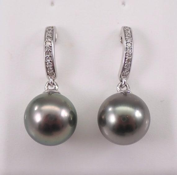 Black Tahitian Pearl and Diamond Dangle Earrings 14K White Gold June Birthstone