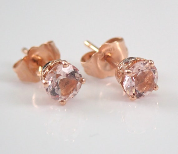 Morganite and Diamond Stud Earrings Pink Aqua Rose Gold Studs Perfect Gift