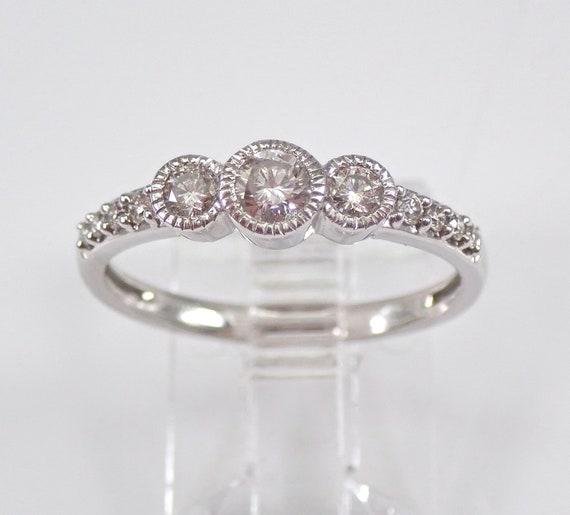 White Gold Diamond Three Stone Bezel Set Engagement Ring Size 7 Anniversary Gift FREE Sizing