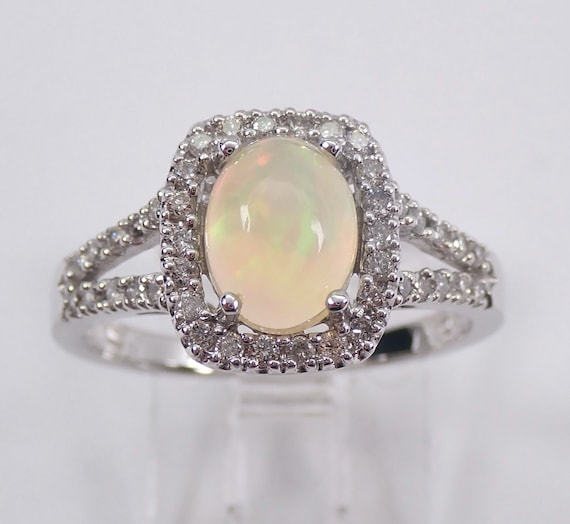 White Gold Diamond and Opal Halo Engagement Ring Size 7 October Birthstone