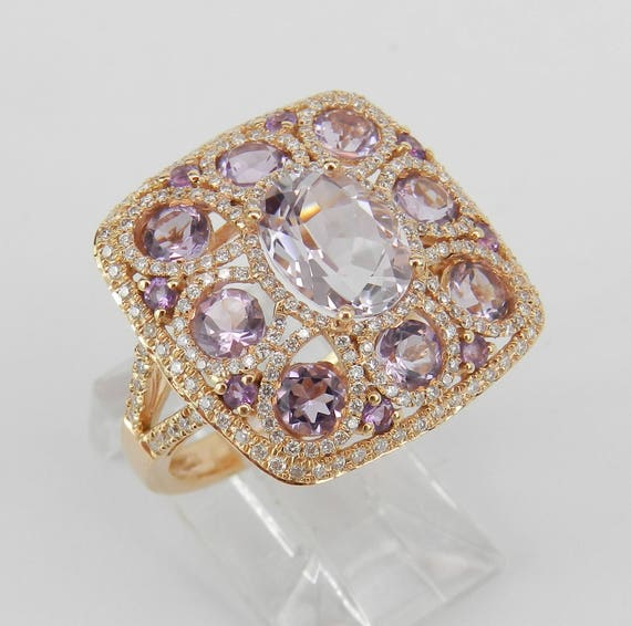 18K Rose Gold 5.20 ct Amethyst and Diamond Cocktail Cluster Ring Size 7 February FREE Sizing