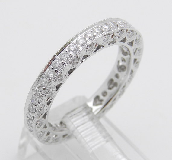 Diamond Eternity Ring, 18K White Gold Diamond Ring, Diamond Wedding Ring, Diamond Anniversary Band, Stackable Diamond Eternity Band, Size 6