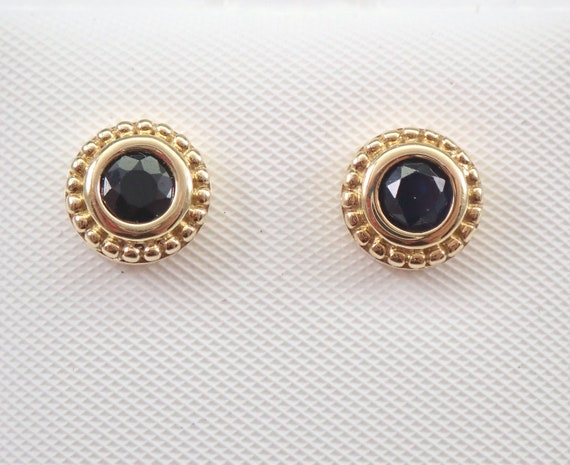 Black Sapphire Stud Earrings Halo Studs Yellow Gold September Birthstone