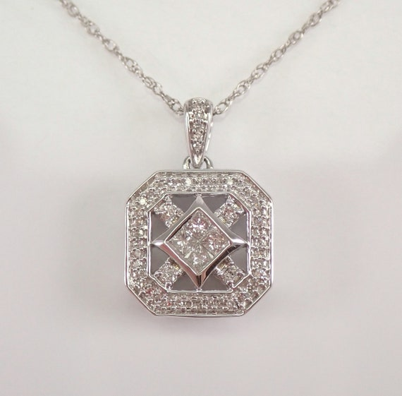 "Princess Cut Diamond Cluster Pendant White Gold Wedding Necklace Chain 18"""