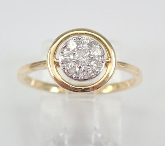 Modern Diamond Circle Cluster Halo Ring Statement Ring Yellow Gold Size 7 FREE Sizing