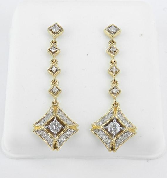 Diamond Earrings, Dangle Drop Earrings, 14K Yellow Gold Earrings, Bridesmaid Gift, Genuine Diamond, Real Gold Earrings