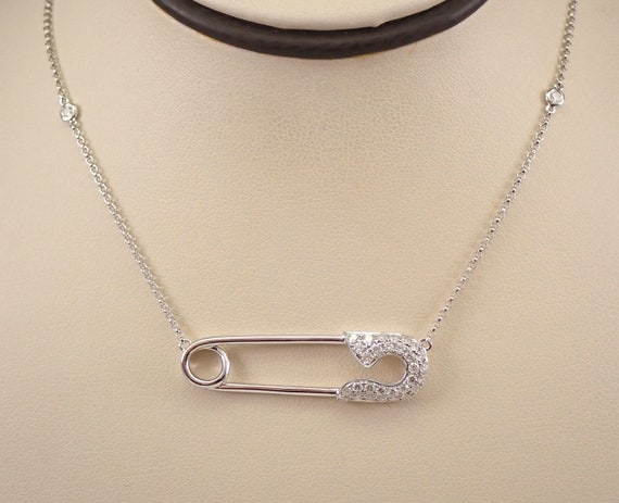 """18K White Gold Diamond SAFETY PIN Necklace Diamonds by the Yard 18"""" Chain"""