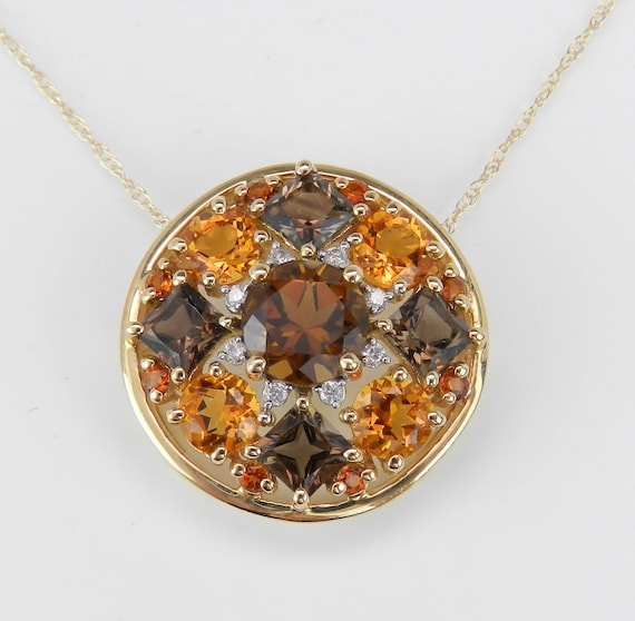 "Citrine Smokey Topaz Diamond Cluster Pendant Necklace 14K Yellow Gold 18"" Chain"
