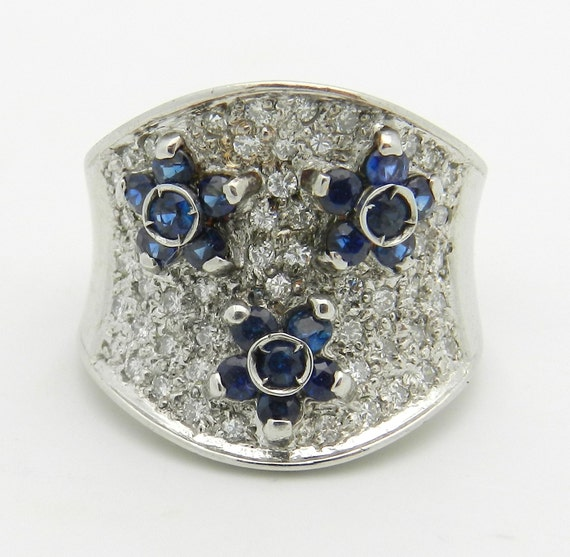 Vintage 14K White Gold Diamond and Sapphire Flower Wedding Ring Anniversary Band Size 4 FREE Sizing