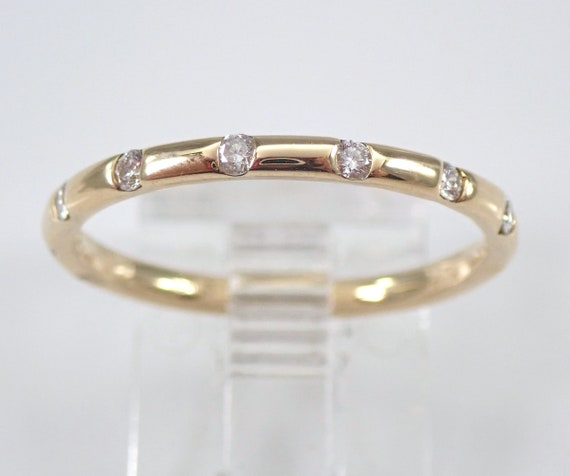 Diamond Wedding Ring Anniversary Band Yellow Gold Sizable Size 7.25 Stackable Ring