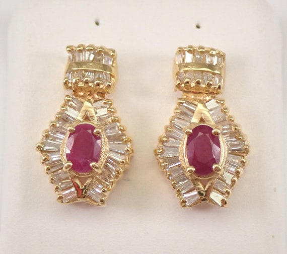 Antique Vintage 14K Yellow Gold Diamond and Ruby Earrings Screw back Design