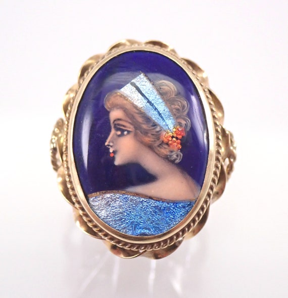 Antique Victorian 14K Yellow Gold French Hand Painted Ring Size 9 FREE SIZING