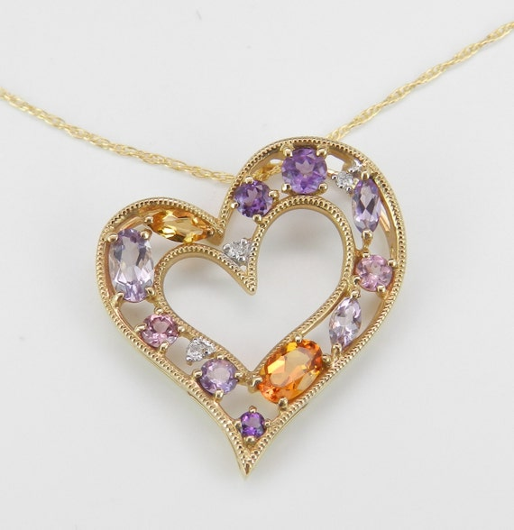 "Multi Color Gemstone Diamond Heart Pendant Necklace Yellow Gold 18"" Chain Amethyst Tanzanite Citrine Pink Tourmaline"