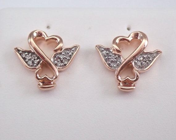 Rose Gold Diamond Studs ANGEL Stud Earrings Petite Studs Heart Wings Studs