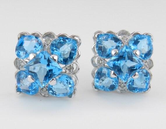 14K White Gold Blue Topaz and Diamond Earrings, Omega Clasp Earrings, December Birthstone Earrings, Fashion Clip On Earrings