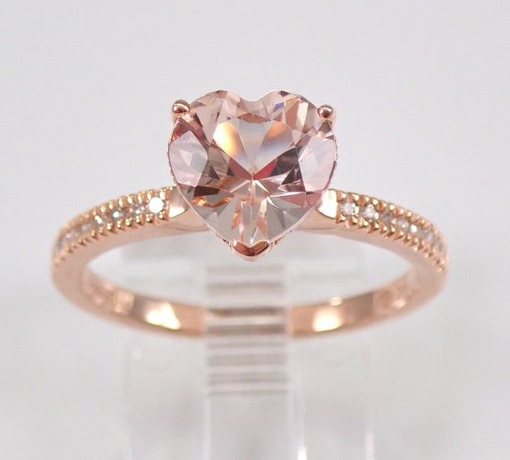 Heart Morganite and Diamond Engagement Ring 14K Rose Gold Size 7.5 Pink Aqua FREE Sizing