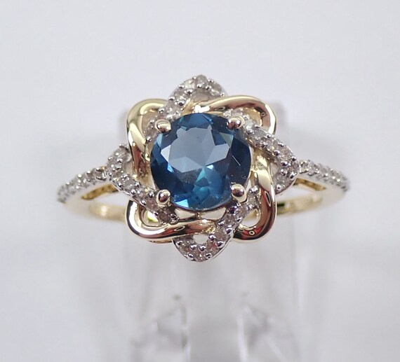 Yellow Gold Diamond and London Blue Topaz Flower Halo Engagement Ring Size 7