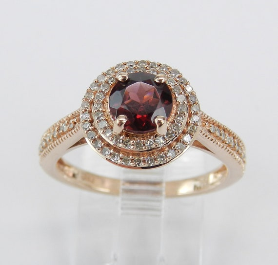 Garnet and Diamond Double Halo Engagement Ring Promise Ring Rose Gold Size 6 3/4 January Birthstone